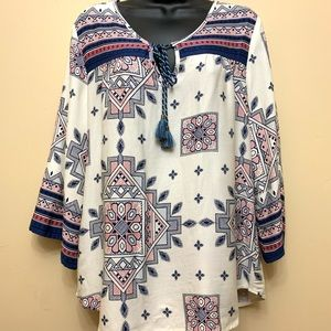 Lovestitch Geometric Print Rayon Blouse Sz M